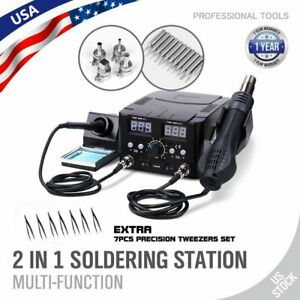 2 In 1 Soldering Rework Stations Smd Hot Air Iron Desoldering Welder Dc Power