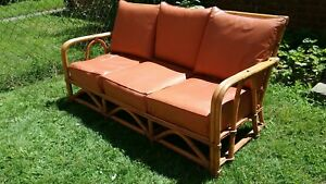 Vtg Antique 5 Pc Rattan Bamboo Patio Set Sofa 2 End Tables 2 Chairs Art Deco