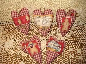 Set Of 5 Country Handmade Fabric Christmas Gingerbread Heart Ornaments Decor