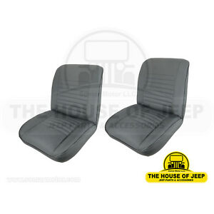 Front Low Back Bucket Seat In Black Levis Jeep Cj 1955 1979 pair