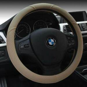 15 Cream Universal Car Steering Microfiber Cover Breathable Leather For Bmw