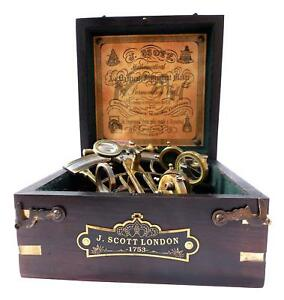 Mah Brass Ship History Sextant With Hardwood Box C 3082