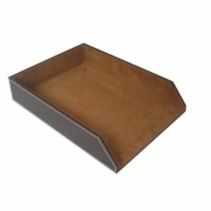 Kingfom Pu Leather Collection Letter Tray Document Desk Organizer Letter Size
