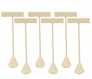 6 pack 5 75 Tall Beige Linen Earring T Stand Display T Shape Showroom And