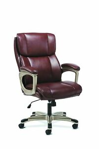 Hon Sadie Executive Computer Chair Fixed Arms For Office Desk Brown Leather