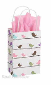 Paper Shopping 50 Bags Spring Birds Merchandise Retail 5 Wide X 3 X 8