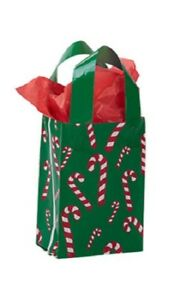 Plastic Shopping Gift Bags 100 Christmas Holiday 5 X 3 X 7 Candy Canes Retail