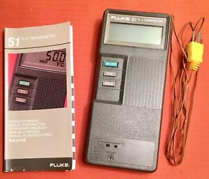 Fluke 51 K j Thermometer W thermocouple Operator Manual very Good Condition