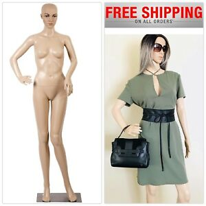 Female Full Body Realistic Mannequin Makeup On Manikin Metal Stand Base Plastic