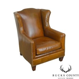 Henredon Brown Distressed Leather Badin Lounge Chair