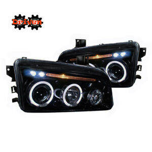 06 10 Dodge Charger Headlights Smoked Tinted Projector W led Drl Dual Halo