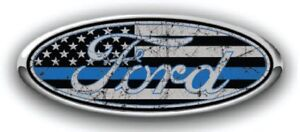 Ford Overlay Distressed Thin Blue Line Logo Overlay Decals 3pc Kit