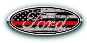 Ford Overlay Distressed Thin Red Line Logo Overlay Decals 3pc Kit
