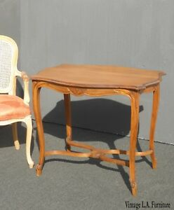 Vintage French Provincial Side Entry Table Solid Wood