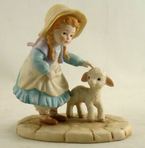 Vintage Porcelain Bisque French Country Girl With Lamb Figurine