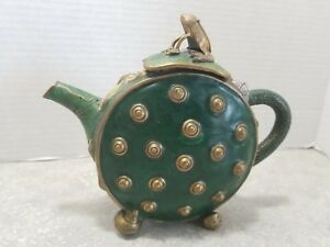 Rare Antique Bronze Chinese Cloisonne Lotus Blossom Teapot With Frog On Lid