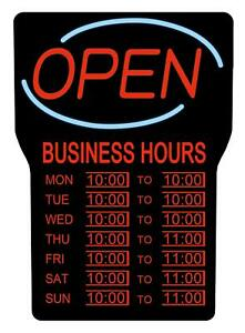 Royal Sovereign Led Open Sign With Hours Black Frame Red Writing And Blue Wave