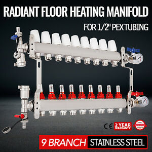 9 Loop branch 1 2 Pex Manifold Stainless Steel Radiant Floor Heating Set Kit