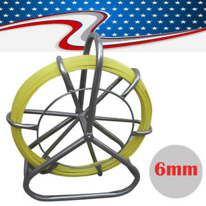 Portable Fish Tape Fiberglass Wire Cable Rod Duct Rodder Fishtape Puller 6mm Aa