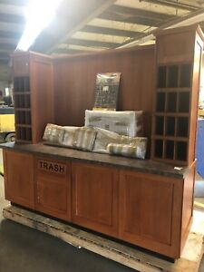 Dgs 92 Wood Retail Convenient Store Coffee Condiment Trash Trays Counter Table