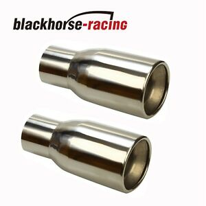 2pcs 2 5 In 3 5 Out Stainless Polished Rolled Edge Duo Layer Slant Exhaust Tips