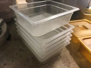 6 Rubbermaid Clear 1 2 X 4 Insert Pans 6 4 Qt Steam Food Buffet Bar Serving Nsf