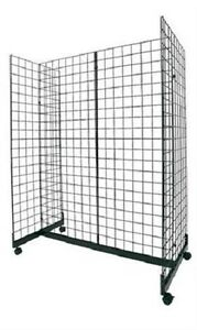Wire Grid Gondola Black 48 L X 66 H X 24 W Display Rack Casters Rolling 3 Oc
