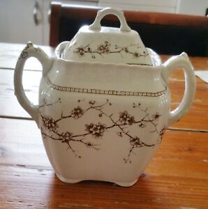 Antique Emery Thorn Aesthetic Brown Transferware Sugar Bowl With Lid