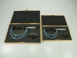 Lot 2x Mitutoyo 123 127 2 3 123 128 3 4 Disc Type Outside Micrometer Cases