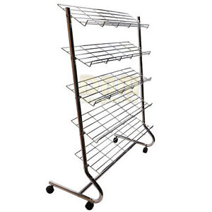 Chrome 5 Tier Shelves Shoe Retail Display Rack Closet Organizer Storage Wheels