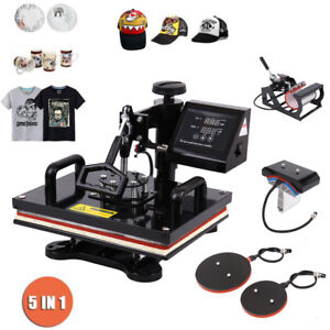 15 x15 5 In 1 Heat Press Machine T shirt Mug Plate Hat Printer Sublimation Lcd