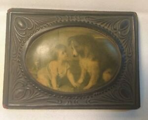 Celluloid Plastic Oval Convex Print Wood Frame Girl With Dog And Cat Collie Vtg