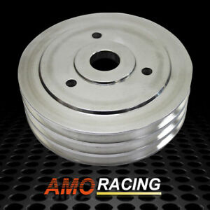 Polished Aluminum 3 Groove Crankshaft Pulley Fit Short Water Pump Bbc Chevy 454