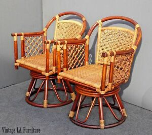Pair Or Vintage Bentwood Rattan Swivel Arm Chairs