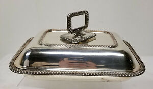 Antique Vintage Sheffield Silver Plate Covered Vegetable Dish