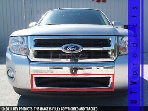 Gtg 2008 2012 Ford Escape 1pc Gloss Black Overlay Bumper Billet Grille Grill