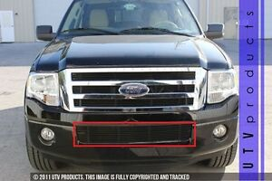 Gtg 2007 2014 Ford Expedition 1pc Gloss Black Bumper Billet Grille Insert