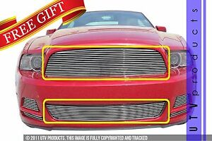 Gtg 2013 2014 Ford Mustang V6 2pc Polished Custom Combo Billet Grille Grill Kit