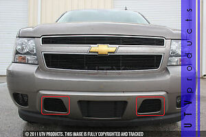 Gtg 2007 2014 Chevy Tahoe 2pc Gloss Black Bumper Accent Billet Grille Kit