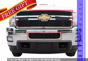 Gtg 2011 2014 Chevy Silverado 2500 3500 3pc Gloss Black Overlay Billet Grille