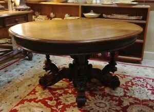 Antique Pedestal Table Carved Winged Lion Feet Formerly Owned By Michael Strahan