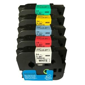 Neouza 5pk Compatible For Brother P touch Laminated Tze Tz Label Tape 24mm X 8m