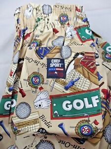 Vintage Chefware Baggy Cotton Chef Pants Size Large Golf Club Tees Cart Ball New
