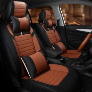 Coffee 5 Seat Cover For Ford F 150 2010 2016 Truck Front rear steering Wheel