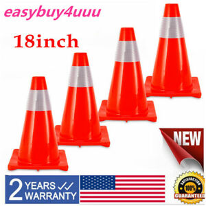 4 Pack 18 inch Traffic Safety Parking Cones Pvc With Reflective Caution Strips
