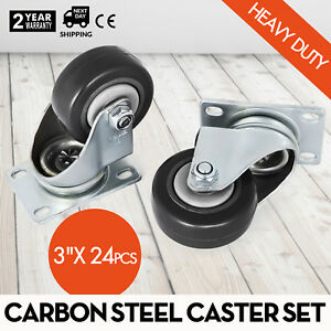 24 All Steel Swivel Plate Caster 3 Wheels Heavy Duty High gauge Steel