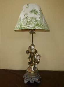 Vintage French Provincial Country Cottage Figural Table Lamp Green Toile Shade