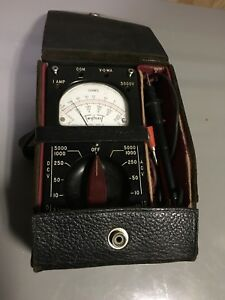 Vintage Triplett 666 r Volt Ohm Meter With Case Manual And Test Wires