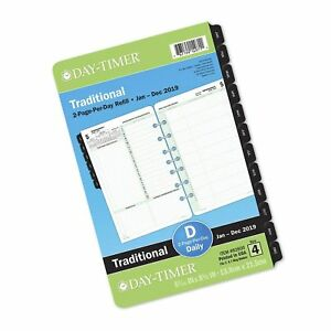 Day timer 2019 Daily Planner Refill 5 1 2 X 8 1 2 Desk Size 4 Loose Leaf