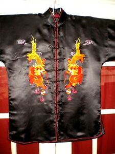 Antique Chinese Black Silk Jacket Robe W Embroidered Dragons Pearls Sz Xxl